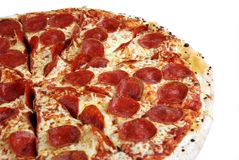 Pepperoni pizza. Tasty pepperoni pizza on a white background Stock Images