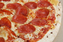 Pepperoni Pizza. Tasty pepperoni pizza close up Stock Photo
