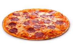 Pepperoni pizza basil. Delicious melted cheese and pepperoni pizza basil Stock Image