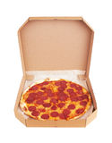 Pepperoni Pizza in box Stock Images