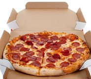 Pepperoni pizza in a box on white Royalty Free Stock Image