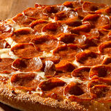 Pepperoni pizza closeup stock photo