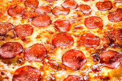 Pepperoni pizza closeup Royalty Free Stock Images