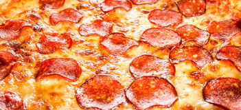 Pepperoni pizza closeup Royalty Free Stock Photo
