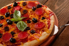 Pepperoni pizza closeup Stock Photography