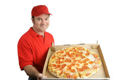 Pepperoni Pizza Delivered Stock Images