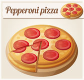 Pepperoni pizza. Detailed vector icon Royalty Free Stock Photos