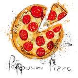 Pepperoni pizza, drawn in chalk on a blackboard Vector Illustration