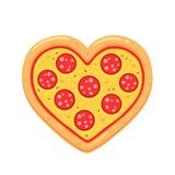 Pepperoni pizza heart vector illustration