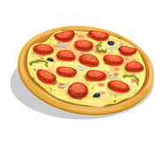 Pepperoni Pizza. Illustration of an appetizing cartoon entire pepperoni pizza, with sausage slices, onions, olives, melting cheese and bell pepper for fastfood Stock Photography
