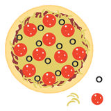 Pepperoni pizza with ingredients. Flat style vector illustration Stock Images