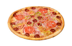 Pepperoni pizza. Isolated on a white background. Studio shot royalty free stock photos
