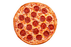 Pepperoni pizza. Italian pizza on white background. Pepperoni pizza - Italian pizza on white background, Isolated royalty free stock image