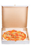 Pepperoni pizza in open paper box Stock Photography