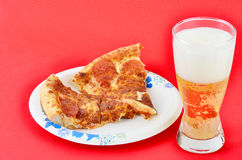 Pepperoni Pizza on Paper Plate Royalty Free Stock Photos