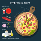 Pepperoni pizza recipe. Fast food meal. Pizza with cheese, tomatoes, salami, onion and more. Hot and fresh snack Stock Photography