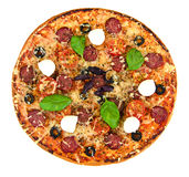 Pepperoni Pizza with Sausage, Cheese, Mozzarella, Olives and Bas Stock Photography