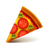 Pepperoni pizza slice isolated on white vector Royalty Free Stock Images