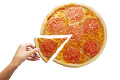 Pepperoni pizza in still life close-up top hand piece Stock Image