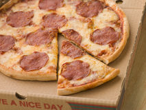 Pepperoni Pizza in a Take Away Box Stock Images