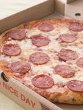 Pepperoni Pizza In A Take Away Box Royalty Free Stock Photography