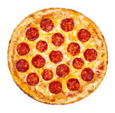 Pepperoni Pizza. Thinly sliced pepperoni is a popular pizza topping in American-style pizzerias stock images