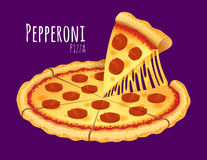 Pepperoni Pizza. A vector illustration of a cooked Pepperoni Pizza Stock Photography