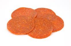 pepperoni plasterki Zdjęcie Stock