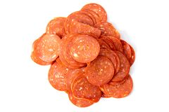Pepperoni. Processed sliced classic yummy pepperoni salami royalty free stock image