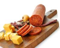 Pepperoni Salami e queijo fotografia de stock