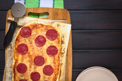Pepperoni or Salami Pizza Stock Image
