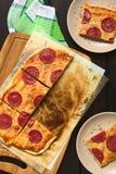 Pepperoni or Salami Pizza Stock Image