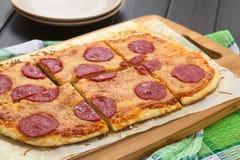 Pepperoni or Salami Pizza Royalty Free Stock Photo
