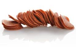 Pepperoni-Scheiben Lizenzfreies Stockfoto