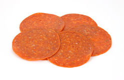 Pepperoni slices Stock Photo