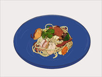 Pepperoni spaghetti Hand drawn sketch vector. Spaghetti Hand drawn sketch vector Stock Photos