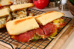 Pepperoni Sub Sandwich Royalty Free Stock Images