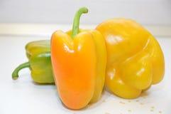 Pepperoni warzyw żółty zielony jedzenie Fotografia Stock