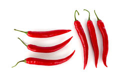 Pepperonis auf weißem Hintergrund stockbilder