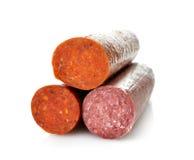 Pepperonis en Harde Salami stock foto's