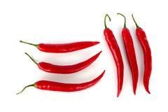 Pepperonis op witte achtergrond Stock Afbeeldingen