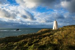 Pepperpot daymark in Portreath, Cornwall, het UK stock foto