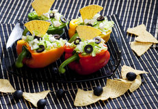 Peppers. Filled with salad and nachos Royalty Free Stock Photography