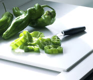 Peppers. Green peppers cut in the kitchen(cuisine Stock Images