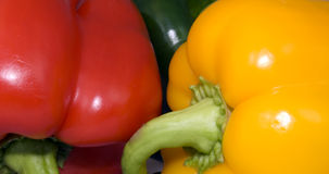 Peppers. Close-up of  a red, yellow and green pepper Stock Images