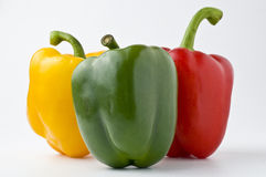 Peppers. A collection of peppers - green pepper, yellow pepper and red pepper Stock Photography