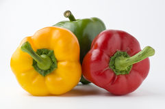 Peppers. A collection of peppers - green pepper, yellow pepper and red pepper Royalty Free Stock Photography