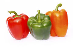 Peppers. Three different colored Bell peppers Stock Photos