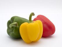Peppers. Green red and yellow peppers stock image