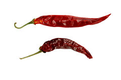 Peppers. Dried red peppers, isolated on white Stock Photo